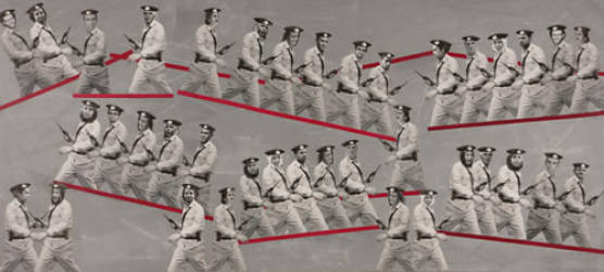 Crossing the Red Line - Mixed Media Photomontage on Paper