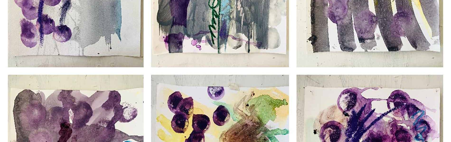 "Blueberry Sequence II  - Oil Pastel, Aquarelle, Gouache & BlueBerries – 2018 – 11.7x16.5"" - $ 650 each"
